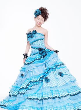 滋賀の2次会用カラードレス レンタル Aライン ライトブルー