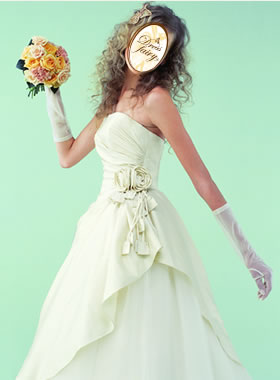 滋賀の2次会用ウェディングドレス レンタル Aライン シャンパンカラー ロングトレーン バラ付き
