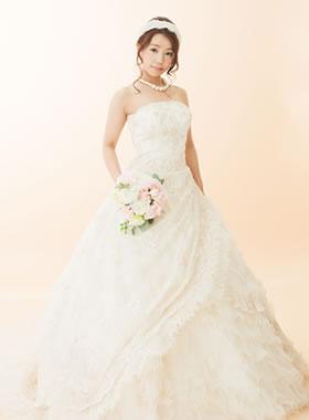 滋賀の2次会用ウェディングドレス レンタル Aライン シャンパンカラー