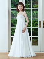 レンタルウェディングドレス エンパイヤライン ホワイト ドレス002