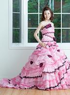 レンタルカラードレス Aライン ピンク ドレス003