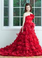 レンタルカラードレス Aライン レッド ドレス004
